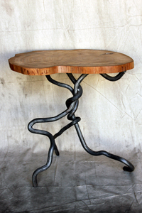 Osage Orange End Table Blue Mountain Metalworks Custom Ornamental Metal Work Architectural